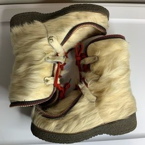 Vintage real fur winter snow boots women's size 39
